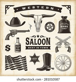 Vintage Western Set. Editable EPS10 vector illustration with transparency.