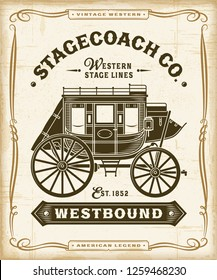 Vintage Western Stagecoach Label Graphics. Editable EPS10 vector illustration in retro woodcut style with transparency.