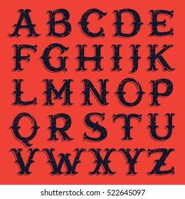 Vintage western victorian handmade grunge font. Vector font for historical labels, posters etc.