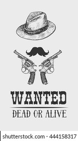 Vintage western wanted poster.