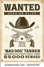 Vintage western wanted poster. Editable EPS10 vector illustration.
