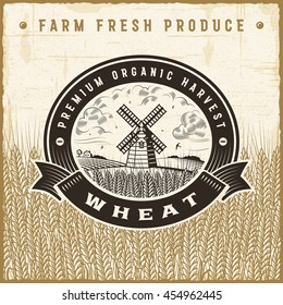 Vintage wheat harvest label. Editable EPS10 vector illustration in retro woodcut style with clipping mask and transparency.