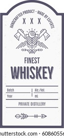 Vintage whiskey label design with ethnic elements in thin line style. Alcohol industry emblem, distilling business. Monochrome, black on white. Place for text