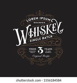 Vintage Whiskey Label Logo with Fancy Lettering and Ornate Flourished Frame