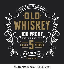 Vintage whiskey label template / Calligraphic design elements / T-shirt graphic design
