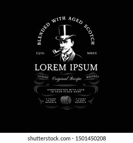 Vintage Whiskey Logo with Gentleman in Top Hat