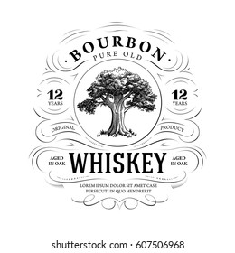 Vintage Whiskey Logo with Oak Tree