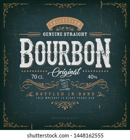 Vintage Whisky Label For Bottle/ Illustration of a vintage design elegant whisky label, with crafted letterring, specific product mentions, textures and celtic patterns, on blue and gold background