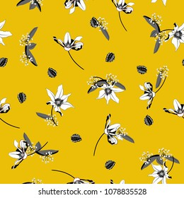 Vintage white Blossom  Floral pattern in the blooming botanical  Motifs scattered random. Seamless vector texture. For fashion prints. Printing with in hand drawn style on summer yellow background