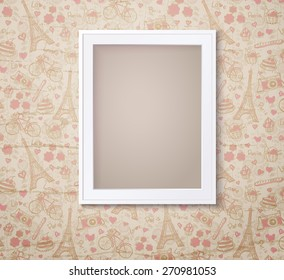 Vintage white photoframe on french fashioned wallpaper. Vector illustration