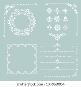 Vintage white set of vector horizontal, square and round elements. Different elements for design, frames, cards, menus, backgrounds and monograms. Classic patterns. Set of vintage patterns