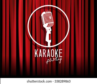 Vintage white silhouette microphone icon against red curtain backdrop. mic round sign on empty theatre stage, vector art image illustration. karaoke night show party background. retro style design