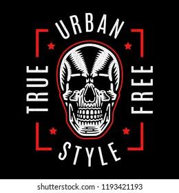 Vintage white skull. Cool print for t-shirt. Bizarre dead head. Retro design. Modern fashion. Urban style. True. Free.