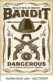 Vintage Wild West Bandit Poster. Editable EPS10 vector typography illustration in retro woodcut style with transparency.