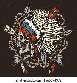 Vintage wild west colorful template with rope crossed smoking pipes and native american indian chief skull in traditional feathers headdress pierced by arrows isolated vector illustration