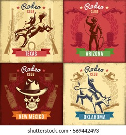 Vintage wild west emblems with cowboy riding animals skull weapon and different rodeo elements vector illustration