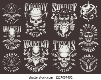Vintage wild west logotypes set with cowboy and sheriff skulls badge guns arrows bones inscriptions in monochrome style isolated vector illustration