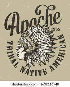 Vintage wild west monochrome badge with inscriptions and native american indian chief head in feathers headwear isolated vector illustration