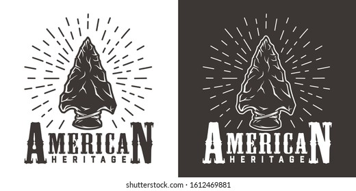 Vintage wild west monochrome label with native american indian flint arrowhead isolated vector illustration
