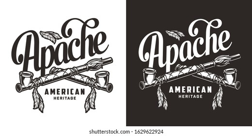 Vintage wild west print with crossed american indian smoking pipes in monochrome style isolated vector illustration
