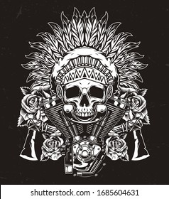 Vintage wild west template with rose flowers motorcycle engine tomahawks american indian chief skull in feathers headdress in monochrome style isolated vector illustration