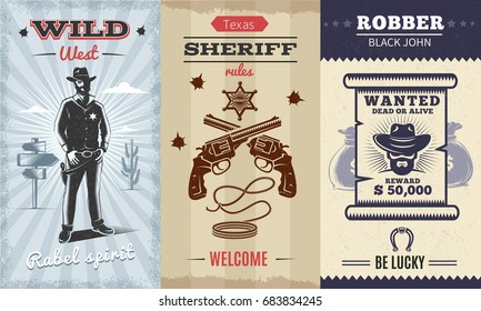 Vintage Wild West Vertical Banners