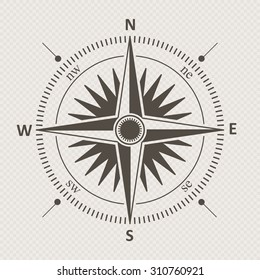 Vintage wind rose isolated vector illustration.