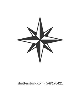 Vintage wind rose symbol or icon in silhouette nautical style, monochrome design. Can be used for T-shirts print, labels, badges, stickers, logotypes. Vector illustration
