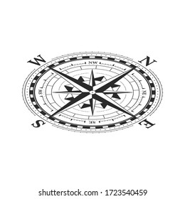 Vintage wind rose symbol in isometric view, classic compass icon on white