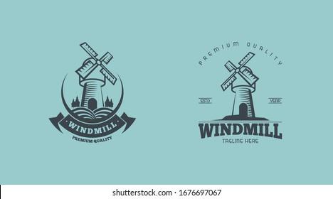 Vintage windmill logo concept vector illustration