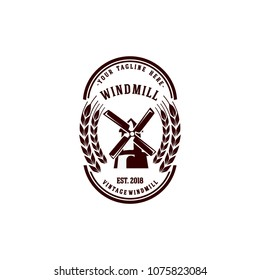 vintage windmill logo vector