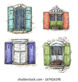 Vintage window hand drawn set of vector drawings