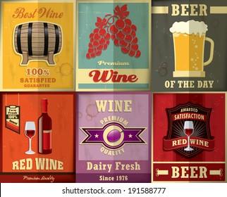 Vintage Wine & Beer poster design set