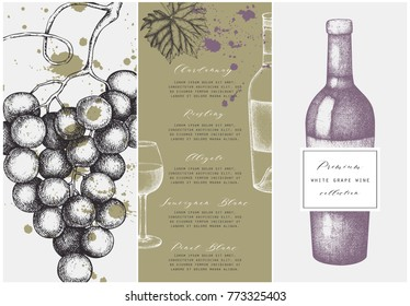 Vintage wine list.  Vector illustration with wine glass, grapes, bottle. Hand drawn alcoholic drink template. Bar menu design