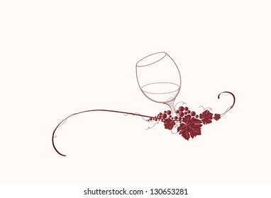 Vintage winery design element. Can be used in menu (restaurant, cafe, bar etc) or other. Includes grapes, leaves,glass, wine, swirls, ornaments, branches.