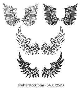 Vintage wings isolated on white background. Design elements for logo, label, emblem, sign, brand mark. Vector illustration.