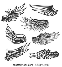 Vintage Wings set isolated on white background.Vector illustration.
