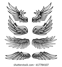 Vintage Wings set isolated on white background.