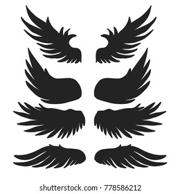 Vintage Wings set isolated on white background. Vector illustration.