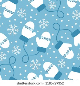 Vintage winter seamless pattern with white mittens and snowflakes on blue background. Vector illustration