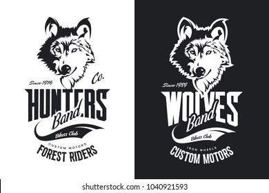 Vintage wolf custom motors club t-shirt black and white vector logo. Premium quality bikers band logotype tee-shirt emblem illustration. Wild animal mascot street wear retro tee print design.