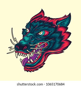 Vintage Wolf head Old School Tattoo Illustration