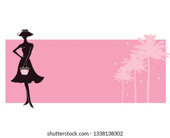 Vintage woman silhouette Hollywood pink banner retro silhouette woman