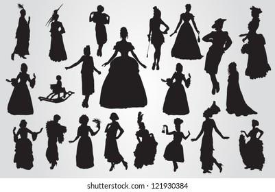 Vintage women silhouettes