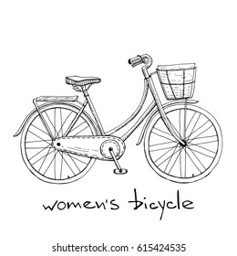 Vintage women`s bike with basket/ Bicycle icon in sketchy style/ Hand drawn vector illustration