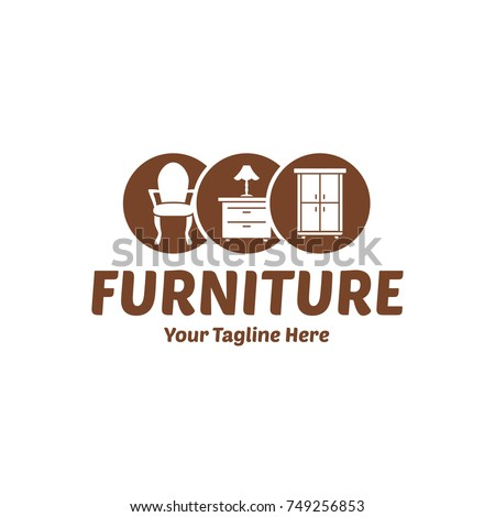 Vintage Wood Home Furniture Logo Chair Stock Vector Royalty Free