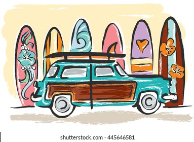 Vintage wood paneled car parked on beach in front of a row of colorful surfboards