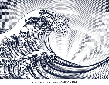 A vintage woodcut engraved etching style oriental Japanese great wave