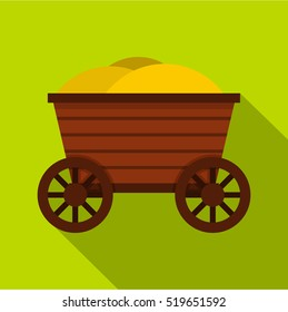 Vintage wooden cart icon. Flat illustration of wooden cart vector icon for web design