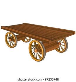 Vintage wooden cart isolated on white background, vector illustration